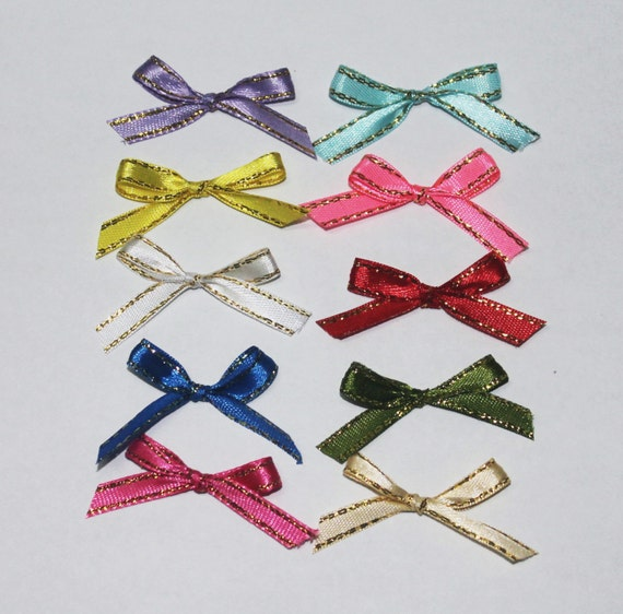 100pcs Assorted Satin Organza Grosgrain Ribbon Flower Appliques Craft Sewing DIY