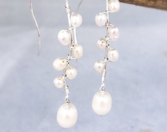 Long Pearl Threader Earring Silver Bridal Pearl Earring Long Silver Earring Wedding Jewelry Gift for Her June Birthstone Anniversary Gift