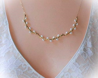 Gold Pearl Necklace Gold Bridal Vine Jewelry Pearl Wedding Necklace Rustic Bridal Necklace Romantic Gift for Her Anniversary Gift Gold