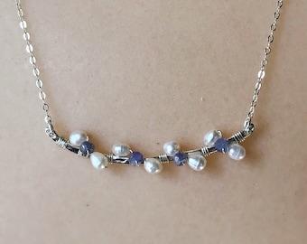Purple Tanzanite Pearl Necklace Silver Floral Jewelry Tanzanite Necklace Silver Bar Necklace Pearl Flower Jewelry Purple Necklace December