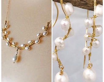 Gold Pearl Jewelry Set Gold Wedding Set Pearl Bridal Jewelry Gold Earring and Necklace Set Pearl Set Gold Anniversary Gift June Birthstone