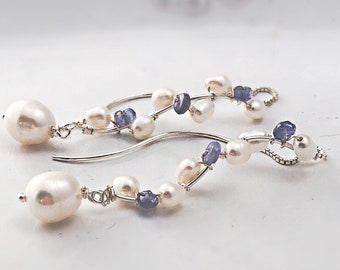 Purple Tanzanite Earring Pearl Threader Earring Silver Long Earrings Tanzanite Drop Earrings Long Pearl Earring Gemstone Threader Earring