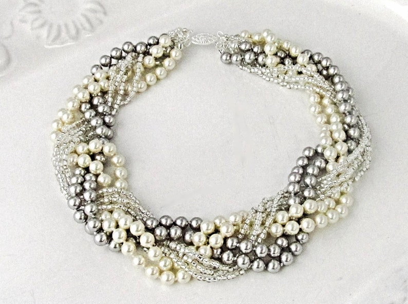 Grey pearl chunky necklace Braided pearl necklace Bridal pearl image 0