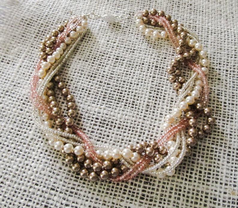 Braided pearl BRACELET Chunky pearl bracelet Blush bridal image 0