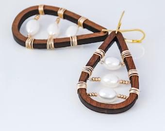 Wood Pearl Hoop Earrings Gold Filled Big Pearl Earrings Teardrop Wood Pearl Earrings Gold Filled Earrings Tribal Earrings Nature Jewelry