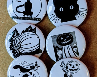 Vintage Print Halloween Buttons