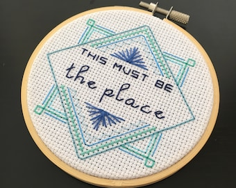 """This Must Be The Place - Finished Cross Stitch in 4"""" Hoop  - Free Shipping"""