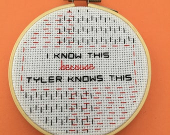 """Fight Club Quote - Finished Cross Stitch in 4"""" Hoop  - Free Shipping"""