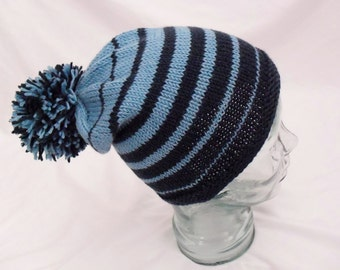 Blue Gradient Striped Hat w/ Pom Pom - Hand Knit Slouchy Cap from Extra Fine Merino Wool - Super Soft - Free Shipping