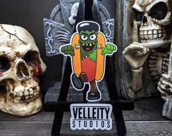 Frankenstein Happy Halloweenie, The Hotdogs in their favorite Halloween costumes Sticker Decal, Monster, Spooky