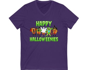 Happy Halloweenies! The festive hotdogs, dressed up for their favorite holiday, Halloween! Dracula Frankenstein ghost zombie witch t-shirt