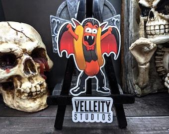 Dracula Happy Halloweenie, The Hotdogs in their favorite Halloween costumes Sticker Decal, Vampire, Spooky