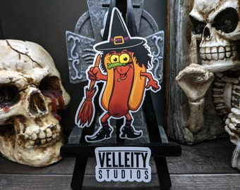 Witch Happy Halloweenie, The Hotdogs in their favorite Halloween costumes Sticker Decal, Spell, spooky