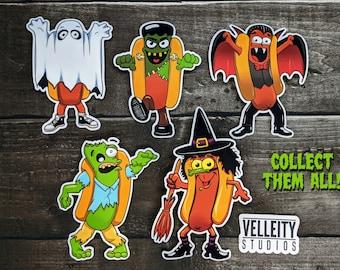 Happy Halloweenes Sticker Set of 5, The Hotdogs in their favorite Halloween costumes Sticker Decal
