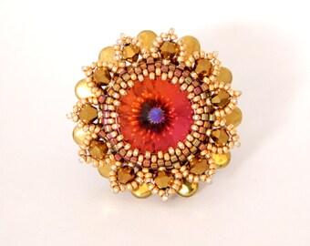 Beaded Ring / Swarovski Ring / Swarovski Beads / Bead Jewelry /  Swarovski Crystal Jewelry
