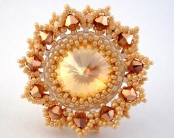 Peyote Ring / Bead Ring / Adjustable Ring /  Swarovski Ring / Swarovski Beads / Colorful Jewelry