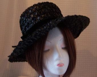f12c5890217 Vintage 1960 s - 1970 s Black Straw Raffia MAXINE Hat with Velvet Ribbon  around it with a Flat Bow Kentucky Derby Sunday Church Hat Retro