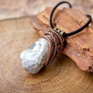 Silver leaf jasper pendant ~ Hand sculpted gemstone and clay pendant OOAK