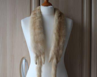 Vintage Real Blonde Mink Fur Shrug Stole Pelt, Rare, Fantastic Condition U7