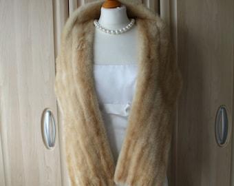 f79337bce8cf Vintage Real Light Cream Mink Fur Shrug Stole by Diadem