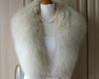 e8efadc2e Vintage Real Arctic Fox Fur Mini Stole / Huge Collar Very Good Condition