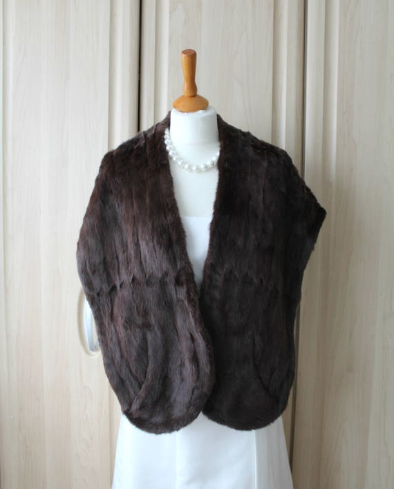 vintage real dark brown rabbit fur shrug stole near perfect etsy. Black Bedroom Furniture Sets. Home Design Ideas