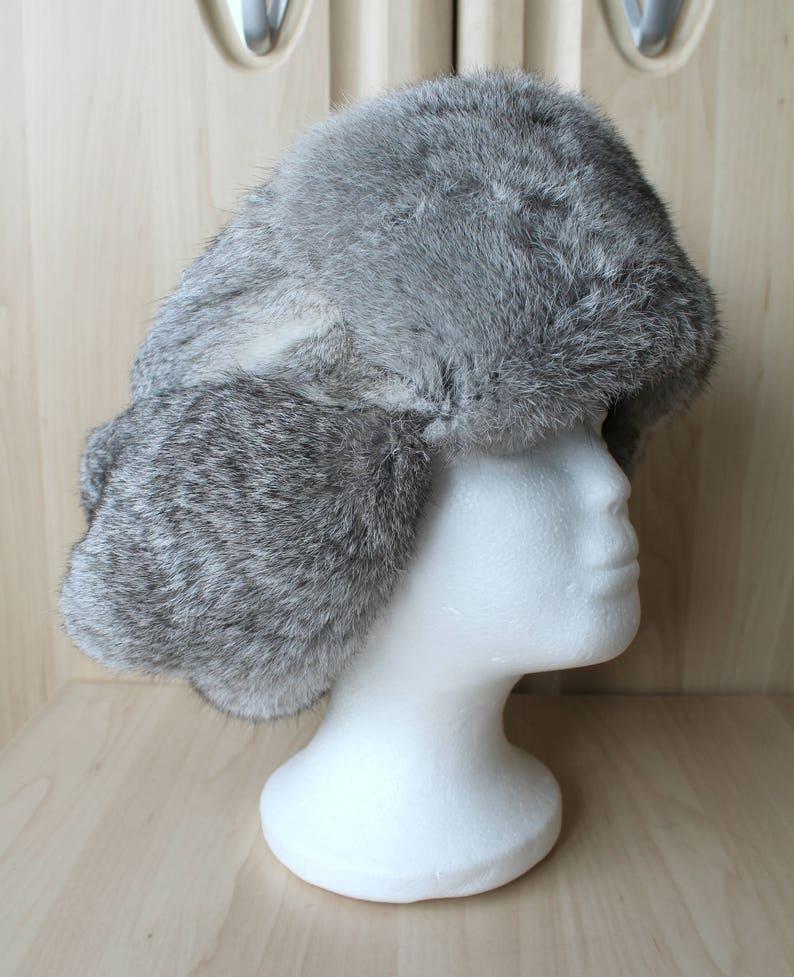 cd6203d413bd9 Vintage Real Rabbit Fur Skin Trapper Hunter Hat Russian