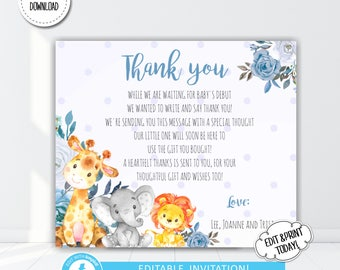 safari animal boy baby shower thank you card thank you safari animals jungle baby shower thank you editable templett instant download