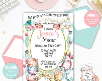Alice In Wonderland Invitation Instant Download Etsy