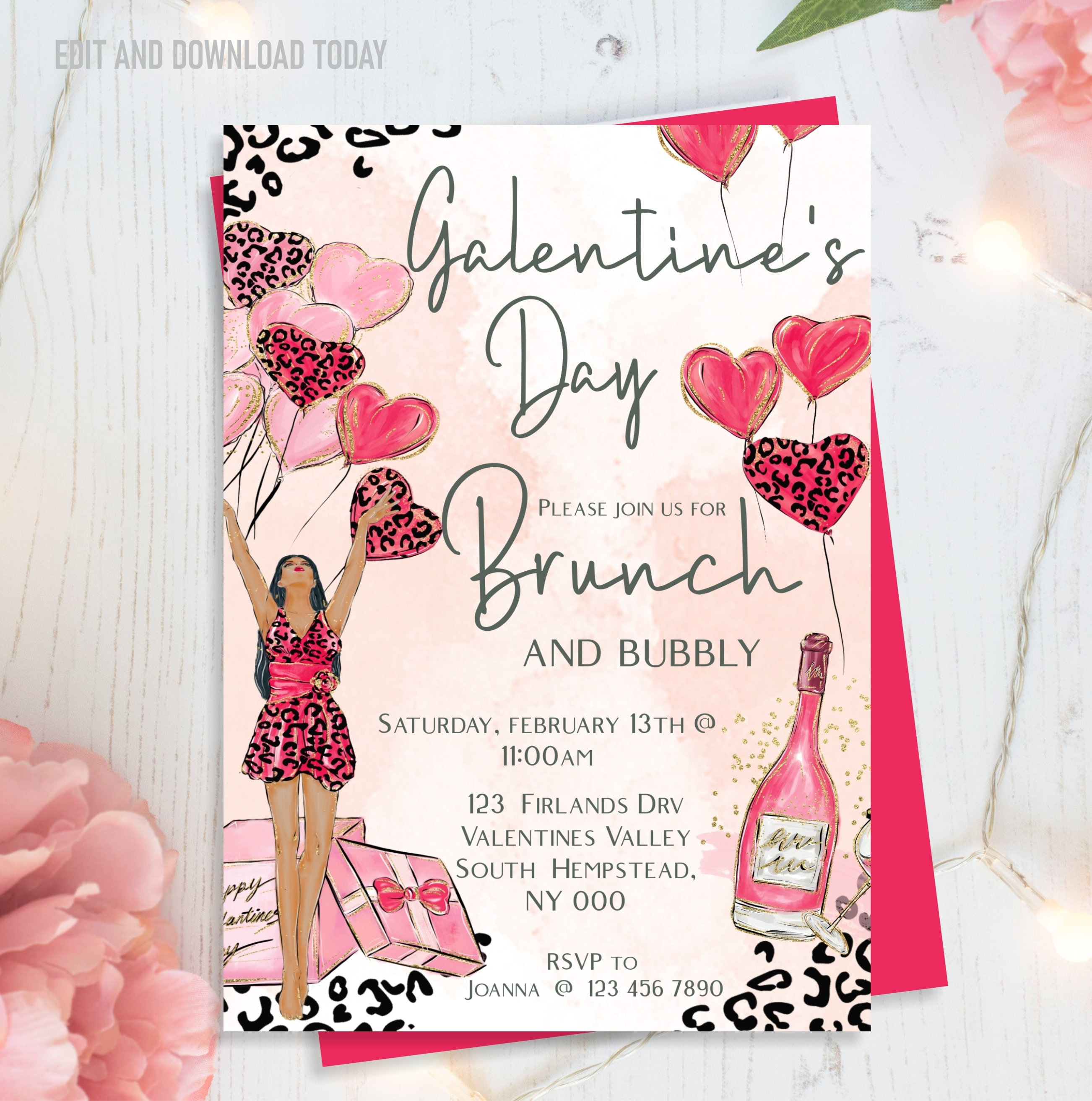 Galentine S Brunch Invitation Galentine S Day Brunch And Bubbly Animal Print Editable Instant Download