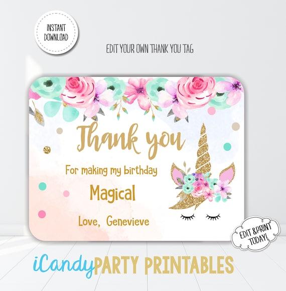 Unicorn Floral Girls Birthday Unicorn Thank You Card Etsy