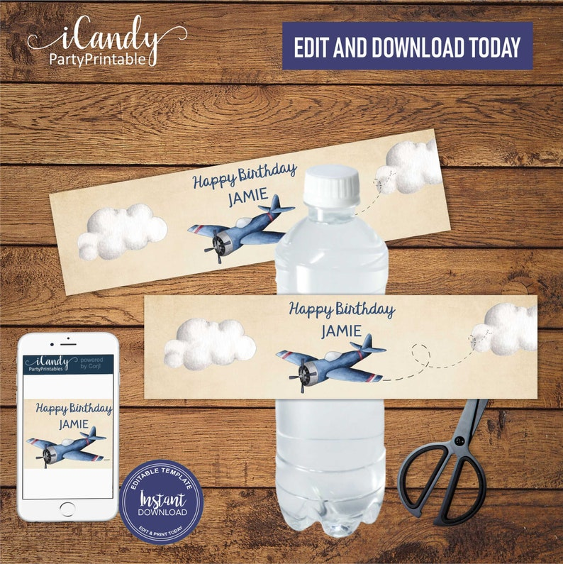 Airplane Water Bottle Labels DIY Printable Party decor Instant download, Editable Labels