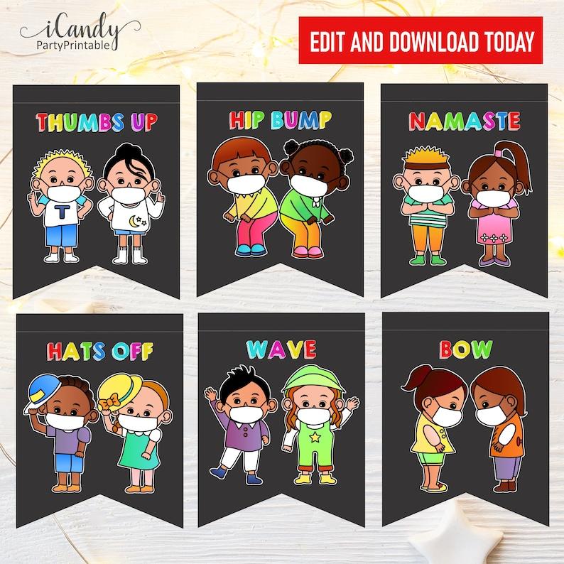 Printable Bunting Social Distancing Greetings Instant Download,