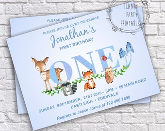 Woodland invitation, Forest Animal invitation, 1st Birthday Party, Woodland Invite, Editable with adobe reader, Printable, INSTANT DOWNLOAD
