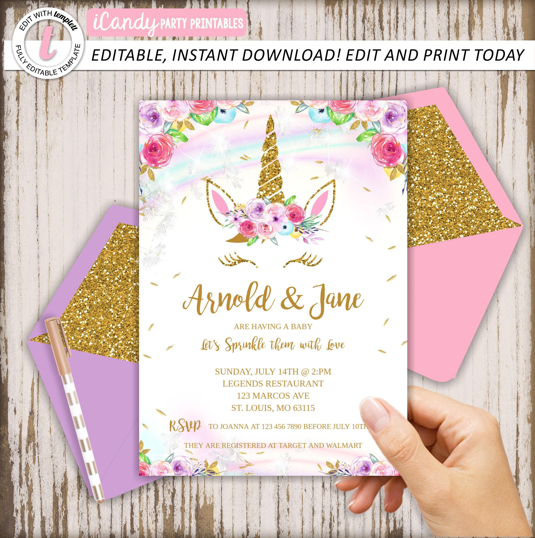 Unicorn Baby Shower Invitation Editable Download Etsy