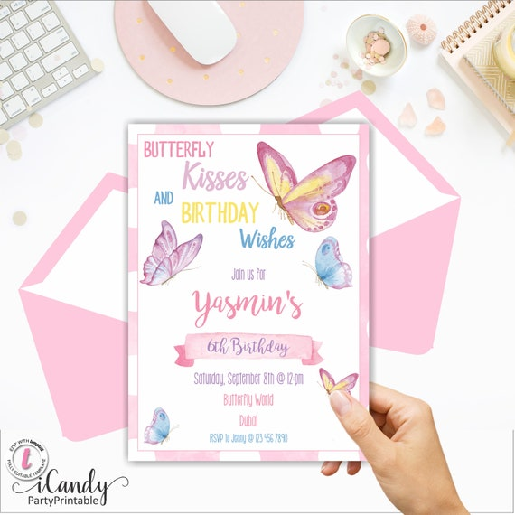 Butterfly Invitation Birthday Printable Invite Kisses 1st Instant Download Editable