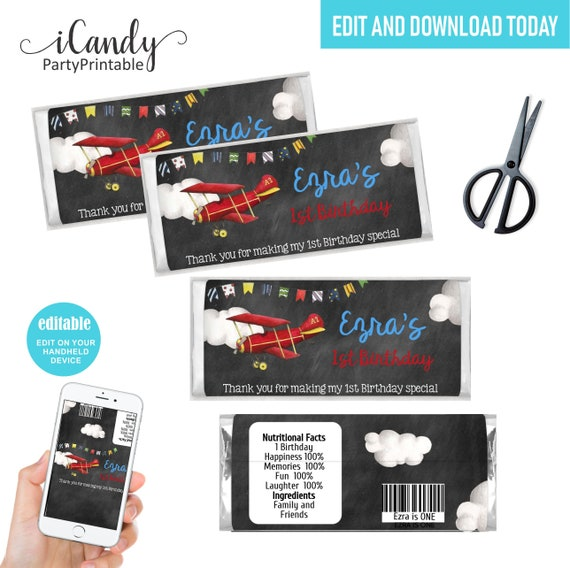Instant download Airplane Chocolate Bar Wrapper Template Editable Chocolate Wrapper