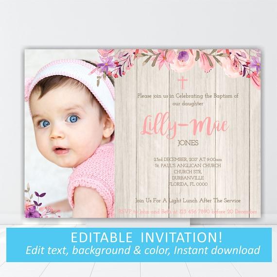 baptism invitation pink christening invitation dedication etsy