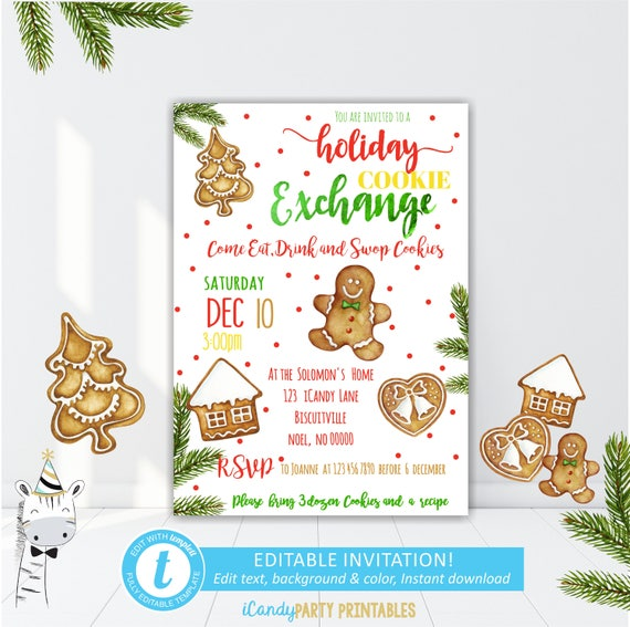 Christmas Cookie Party Invitation Cookie Exchange Party Etsy