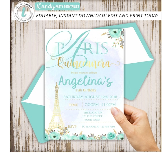 Quinceanera Invitation Quince Invite 15th Birthday Party Paris