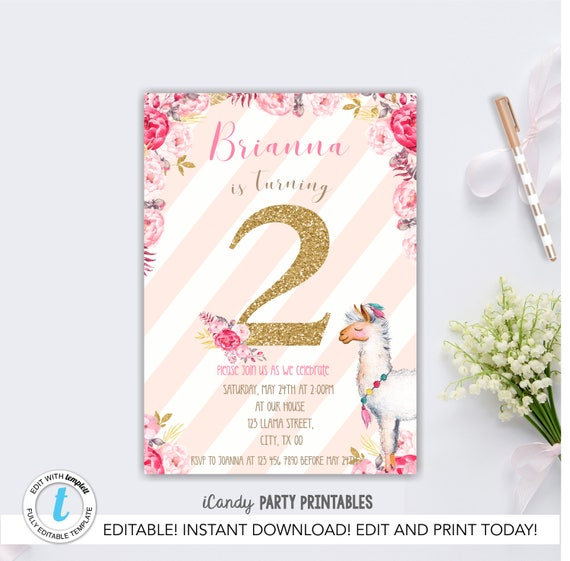 Llama birthday invite second birthday invitation pink gold etsy image 0 filmwisefo