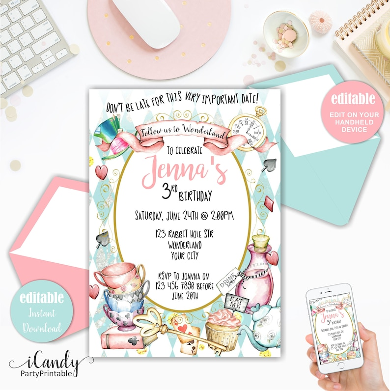 Alice In Wonderland Invitation Alice Party Invite Editable Etsy