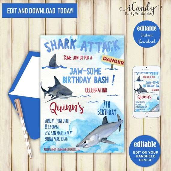 Shark Birthday Invitation Boy Invite Printable Boys Themed Party Pool Jaws