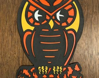 Vintage Inspired Devil Layered wood Wall Art Halloween Decor Primitive Retro Sign