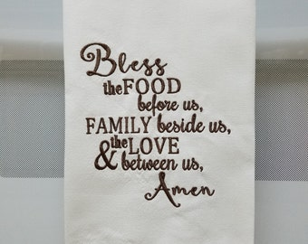 Embroidered Prayer/Bless the food before us/Dinner prayerEmbroidered Tea/Kitchen Towel