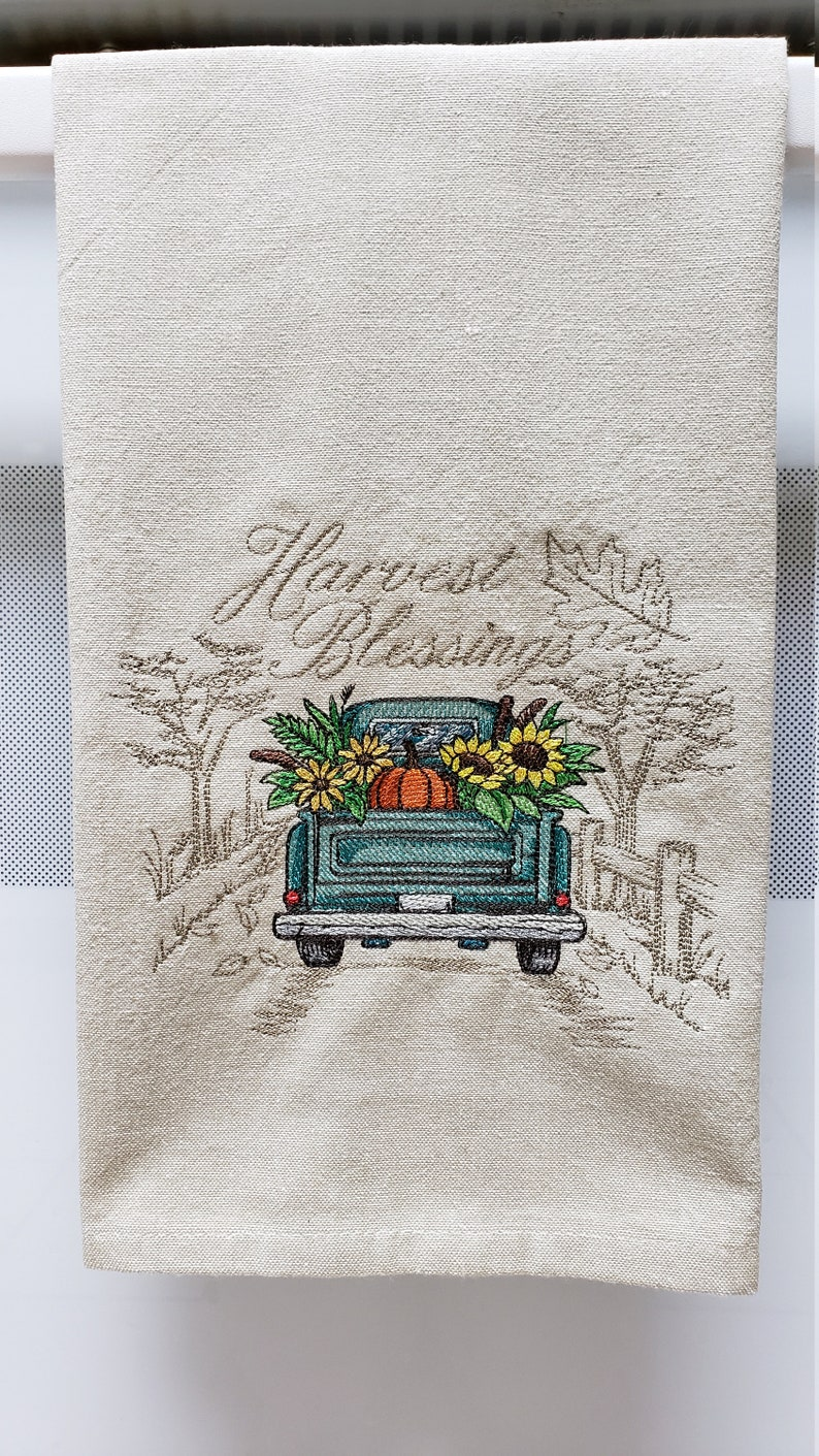 Embroidered Harvest Blessings/Fall Harvest Truck with image 0
