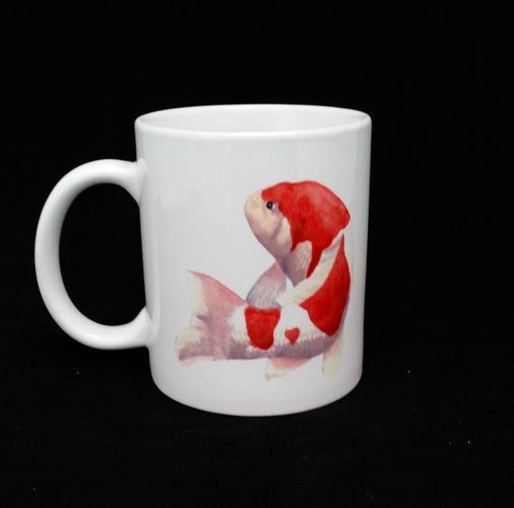 Coffee Mug Swimming Kohaku Koi Carp Fish Red And White Etsy