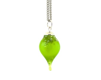 Colored jewelry // Contemporary jewelry // Bright green with silver flakes teardrop resin pendant necklace // Custom length