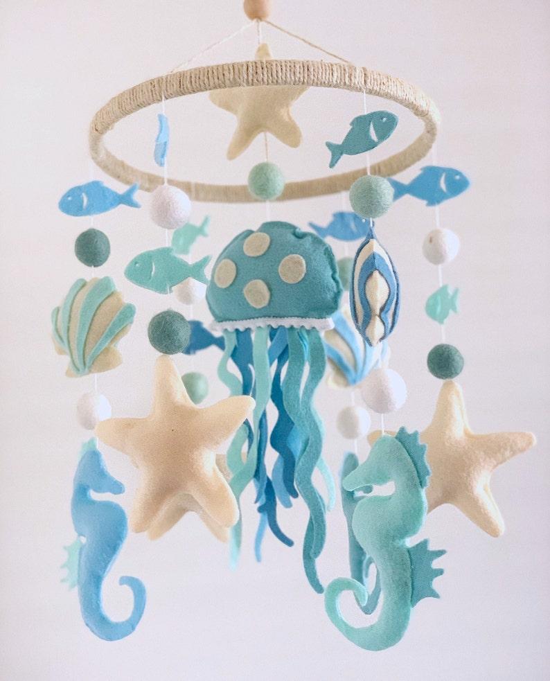 White Nautical Baby Shower Baby Mobile Ocean Seashells Gift Seahorse Blue Crib Decor Sea Mobile Starfish Jellyfish