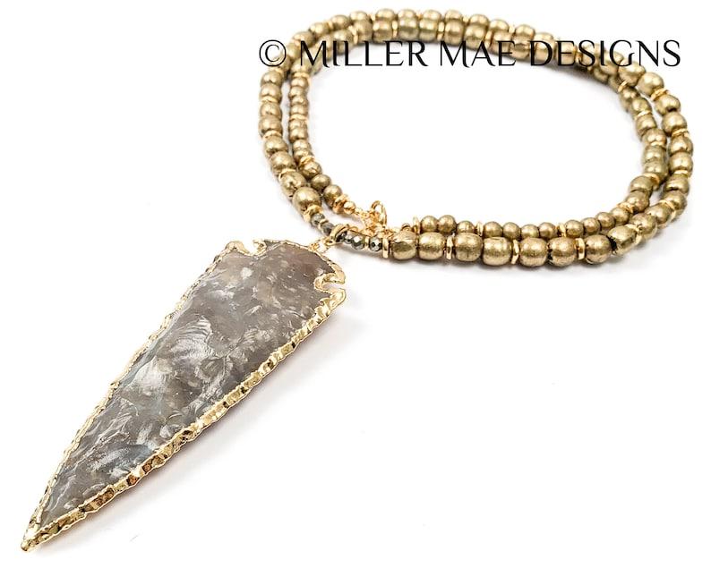 Gold Grey Arrow Necklace Boho Arrowhead Necklace Ethiopian Brass Beaded Necklace Large 24k Gold Plated Jasper Arrowhead Necklace